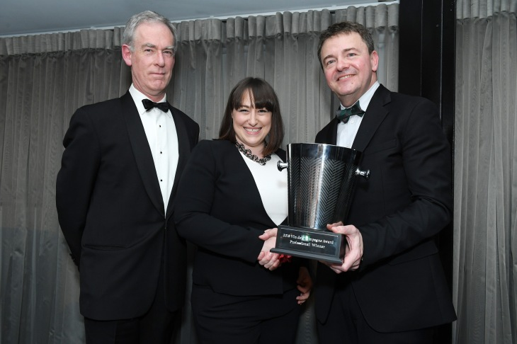 Huon Hooke, Leanne Altmann and John Noble at the Vin de Champagne Awards 2018