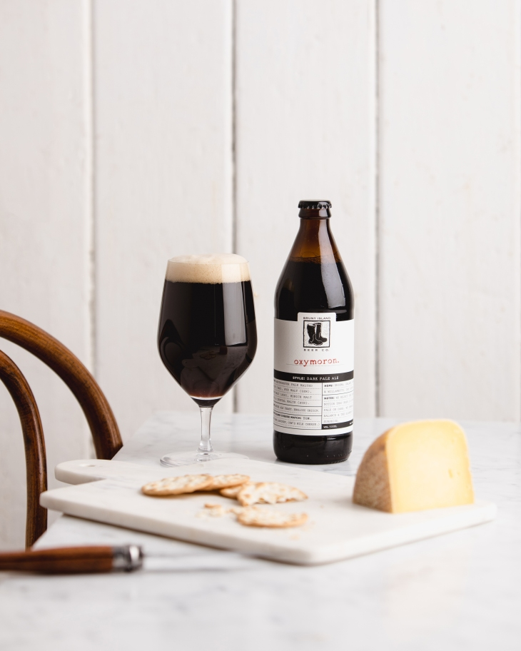 Bruny Island Beer Oxymoron Dark Pale matched with Bruny Island Cheese 'George'