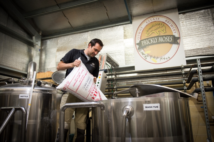 Luke Scott at work in the Prickly Moses Brewery, Otway Ranges Victoria